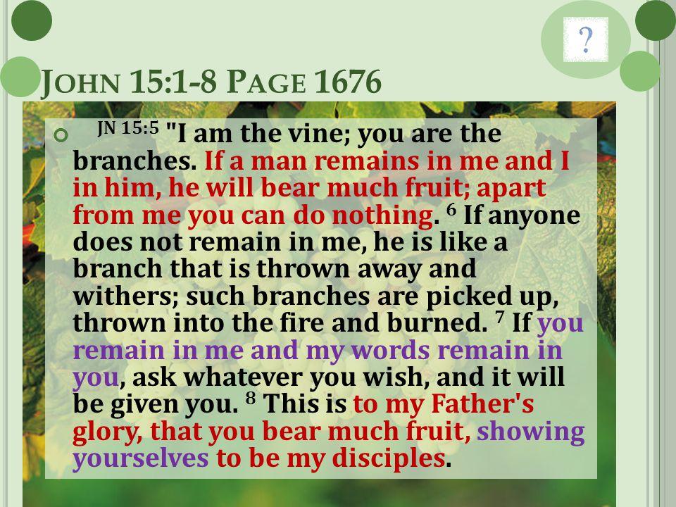 J OHN 15:1-8 P AGE 1676 JN 15:5
