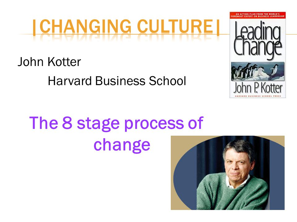 John Kotter Harvard Business School The 8 stage process of change