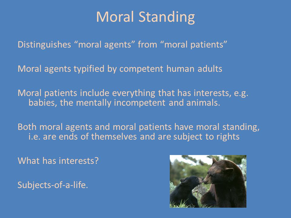 """Moral Standing Distinguishes """"moral agents"""" from """"moral patients"""" Moral agents typified by competent human adults Moral patients include everything th"""