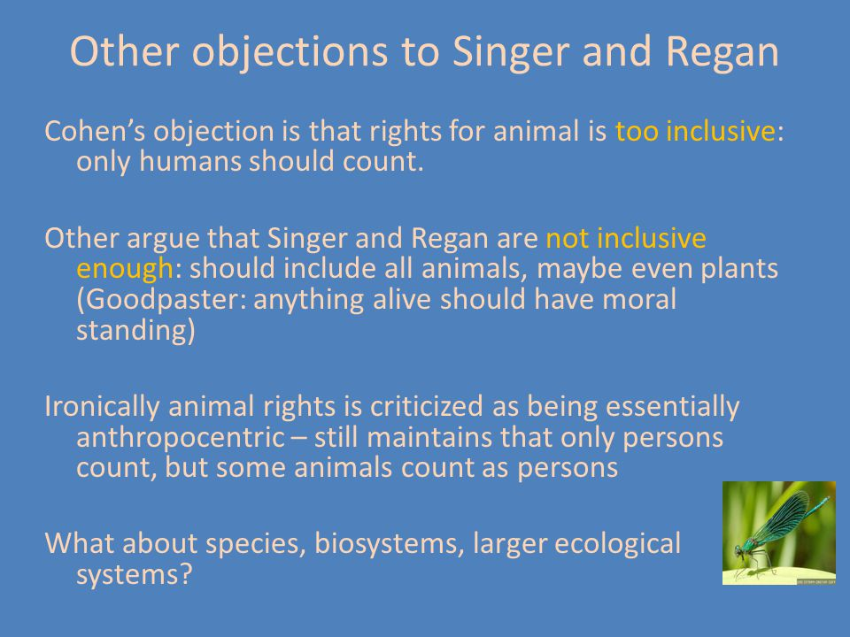 Other objections to Singer and Regan Cohen's objection is that rights for animal is too inclusive: only humans should count. Other argue that Singer a
