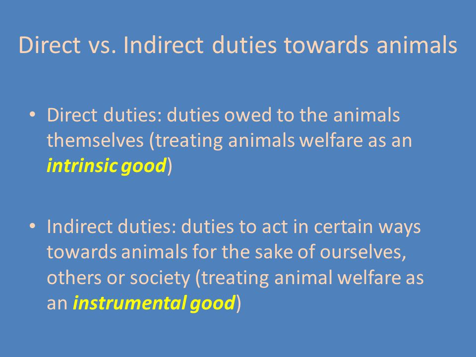 Examples of indirect duties towards animals: Duty to respect private property (animals that belong to someone) Duty to avoid cruelty because it encourages a cruel nature in us, which might then be expressed towards other people Duty not to hurt the feelings of people who love animals by abusing animals Duty to maintain the health of biosystems and nature in general, for our own good Duty to preserve beautiful creatures, for the enjoyment of others and future generations Duty to preserve species that may be sources of other instrumental goods, e.g.