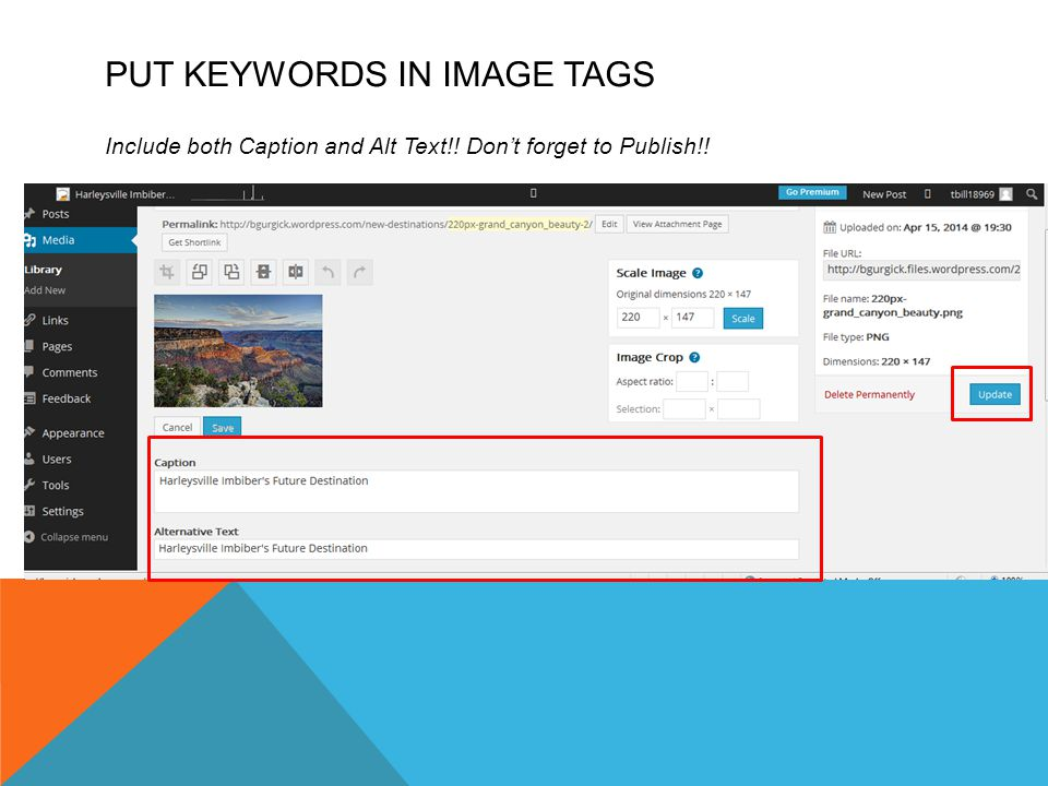PUT KEYWORDS IN IMAGE TAGS Include both Caption and Alt Text!! Don't forget to Publish!!