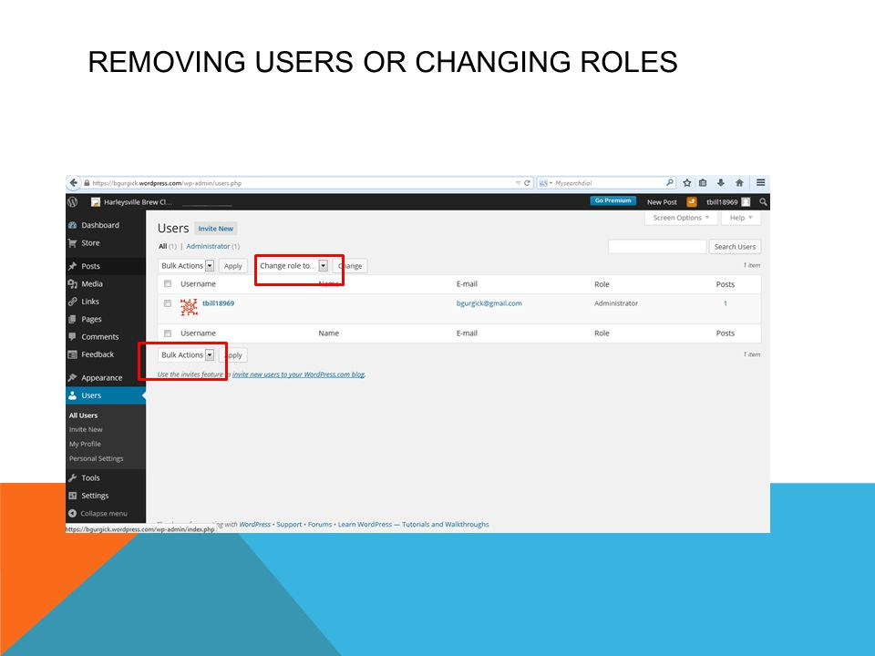 REMOVING USERS OR CHANGING ROLES