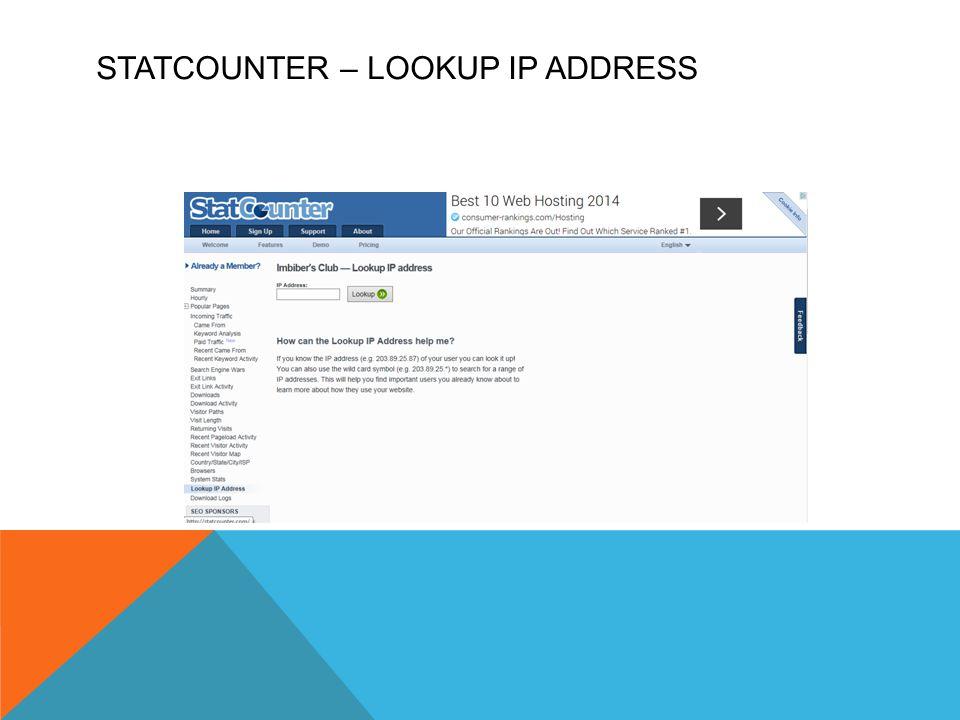 STATCOUNTER – LOOKUP IP ADDRESS