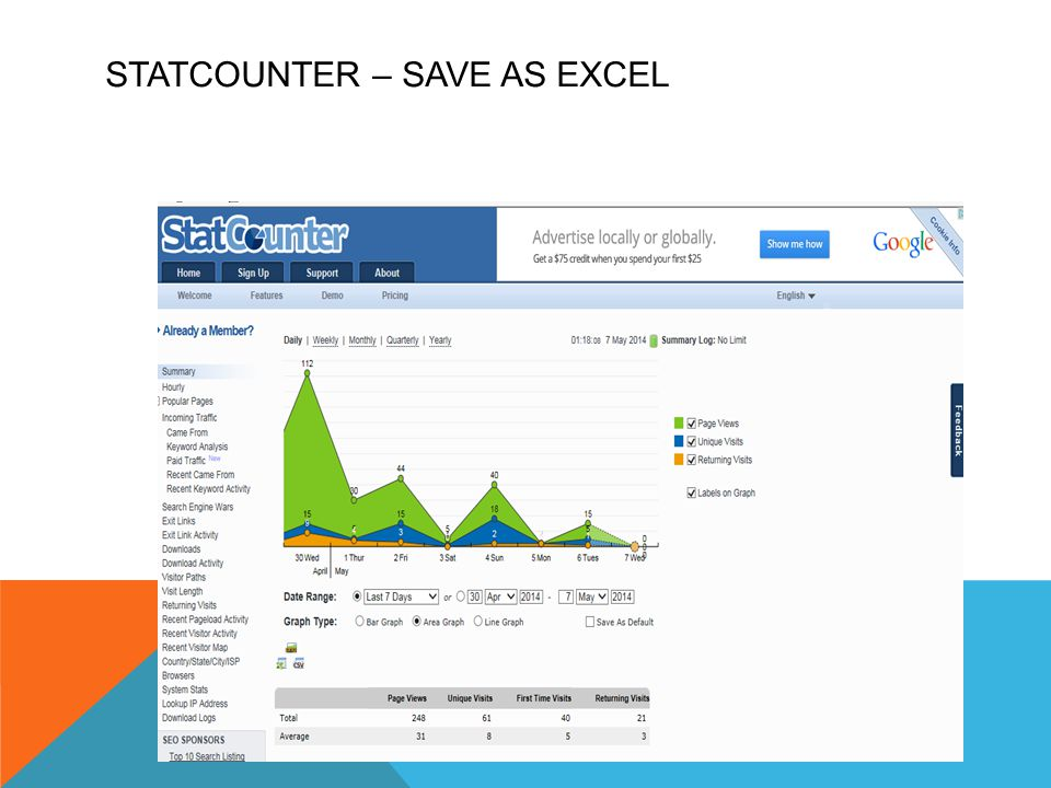 STATCOUNTER – SAVE AS EXCEL