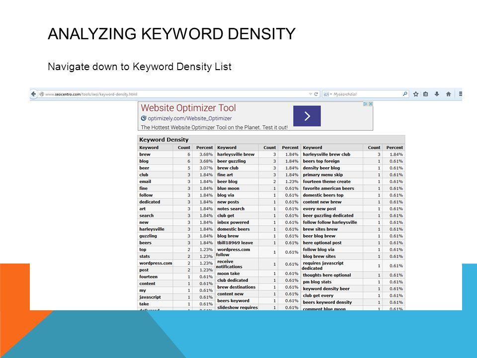 ANALYZING KEYWORD DENSITY Navigate down to Keyword Density List