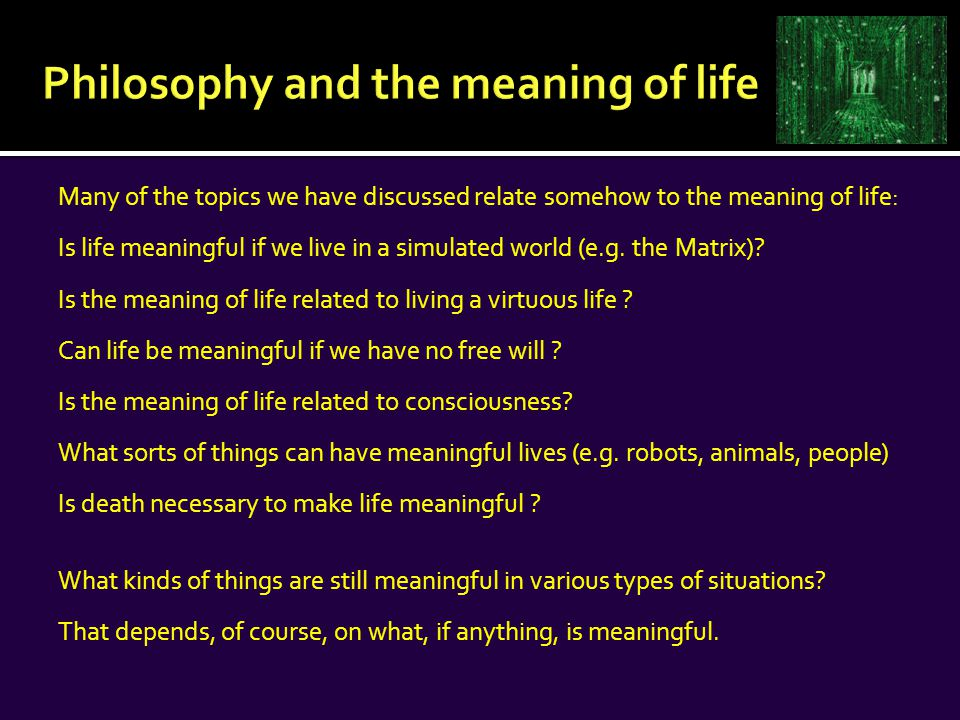 The Meaning of Life Theories about the meaning of life can be divided into two types: subjective and objective 1) Subjective To have a meaningful life = to feel that one has a meaningful life In other words, what is valuable/meaningful is one's own personal happiness or a sense of fulfillment or psychological health.