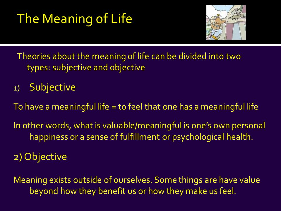 Examples of subjective theories: 1) Eudaimonia 2) Positive Psychology 3) Daoism and Buddhism 4) The meaning of life is the search for the meaning of life
