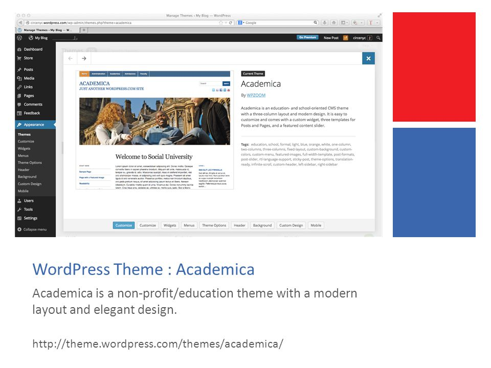 WordPress Theme : Academica Academica is a non-profit/education theme with a modern layout and elegant design.