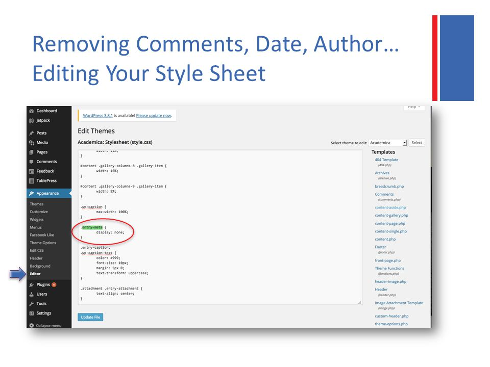 Removing Comments, Date, Author… Editing Your Style Sheet