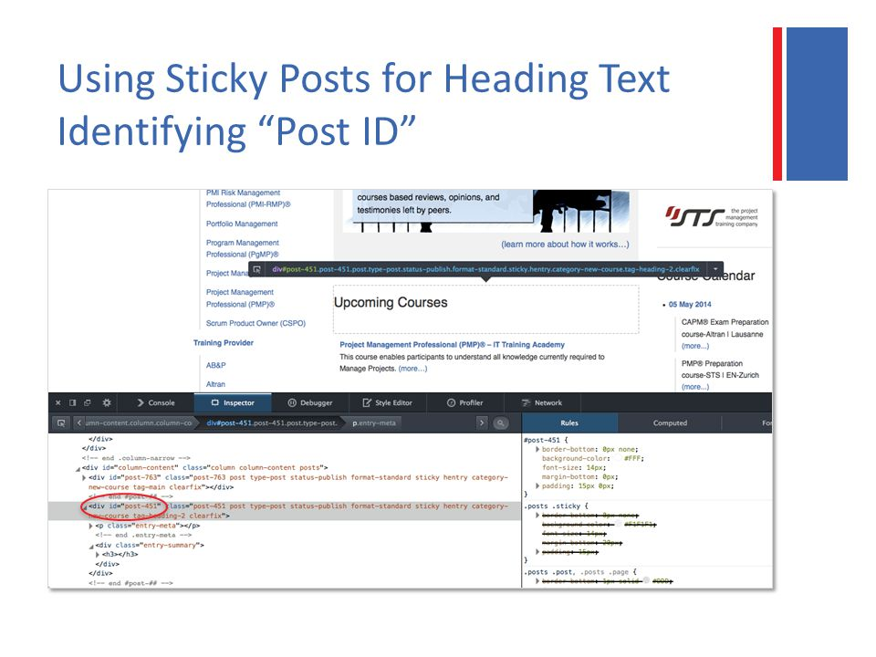 Using Sticky Posts for Heading Text Identifying Post ID