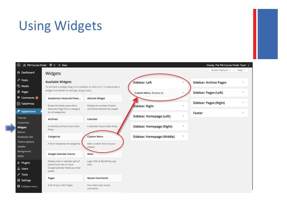 Using Widgets