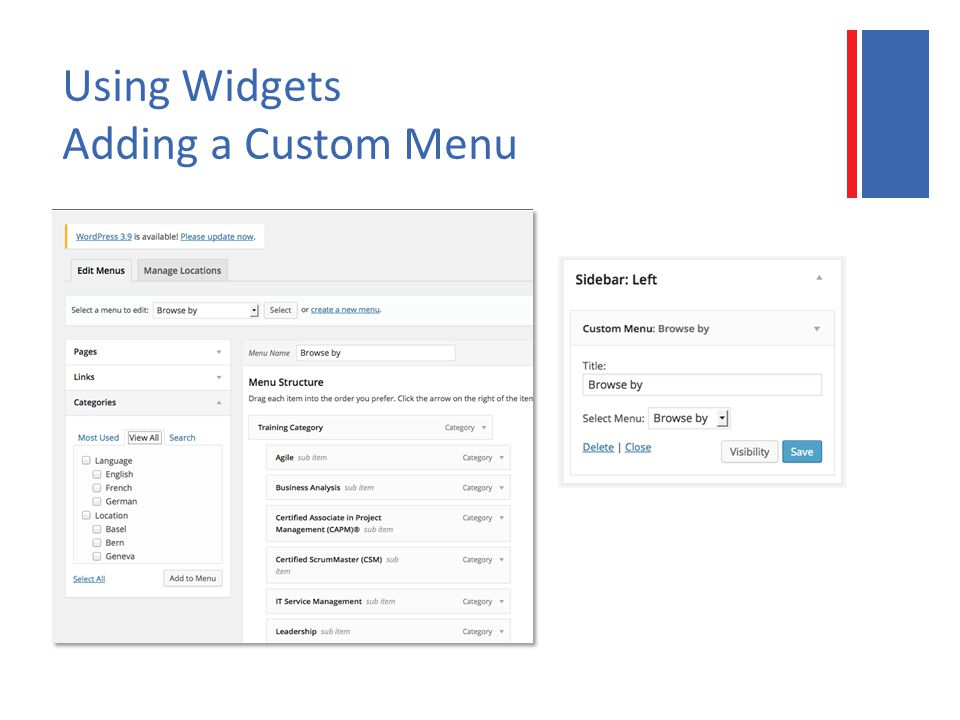 Using Widgets Adding a Custom Menu