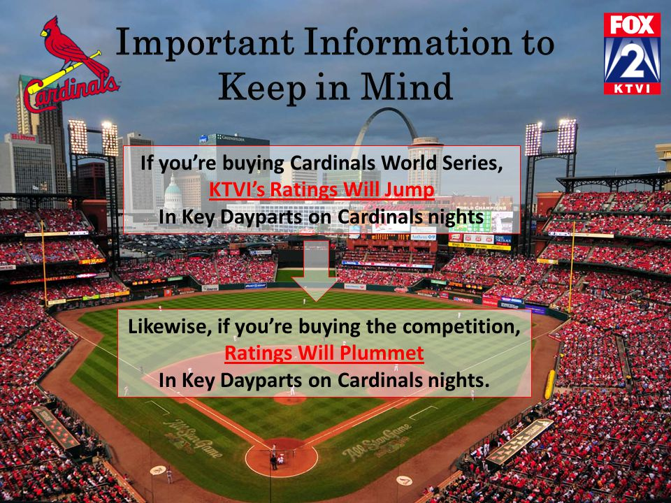 If you're buying Cardinals World Series, KTVI's Ratings Will Jump In Key Dayparts on Cardinals nights Likewise, if you're buying the competition, Ratings Will Plummet In Key Dayparts on Cardinals nights.
