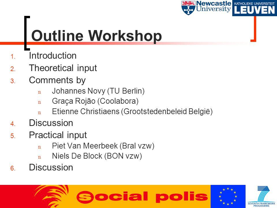 Outline Workshop 1. Introduction 2. Theoretical input 3. Comments by n Johannes Novy (TU Berlin) n Graça Rojão (Coolabora) n Etienne Christiaens (Groo