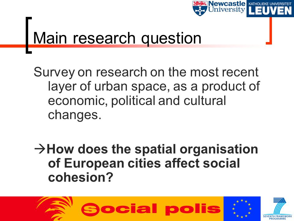 Main research question Survey on research on the most recent layer of urban space, as a product of economic, political and cultural changes.