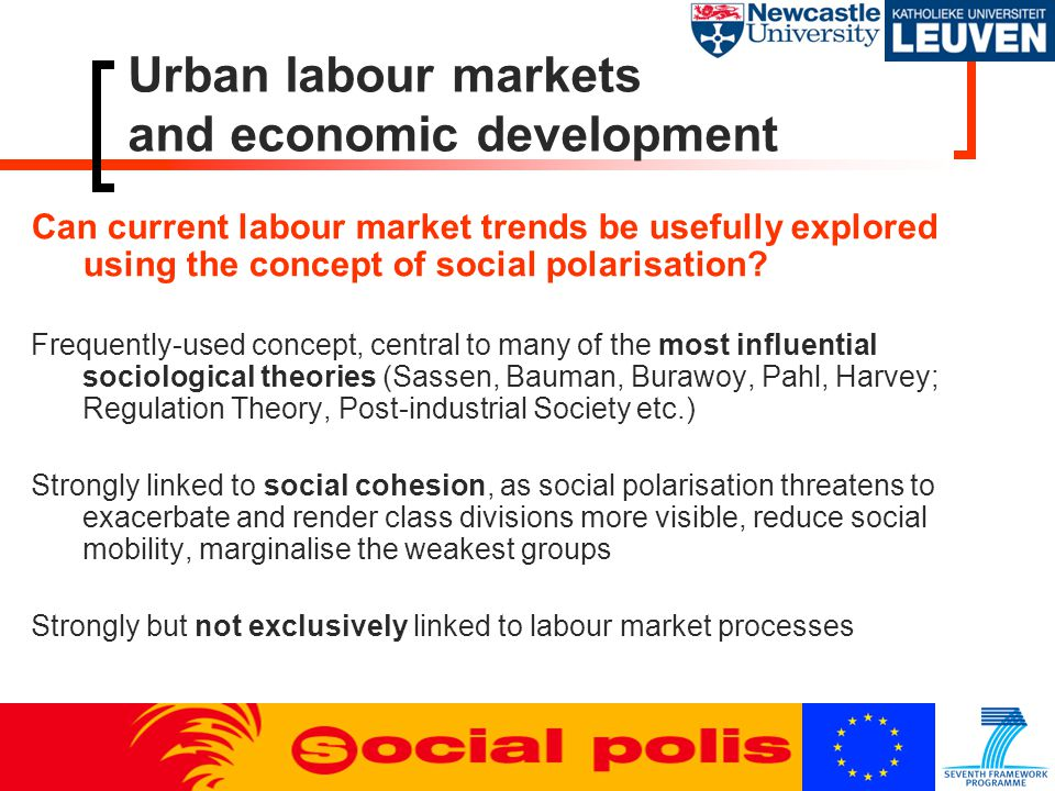 Urban labour markets and economic development Social polarisation  Not a unitary phenomenon but a range of inter-connected mechanisms  Structures and processes rather than outcomes  Theory-guided comparative empirical research – different factors in different locations at different points in time  Attention on the Eastern and Southern peripheries of Europe  Domains: wages, conditions, occupational structure, opportunities  Polarisation within work vs.