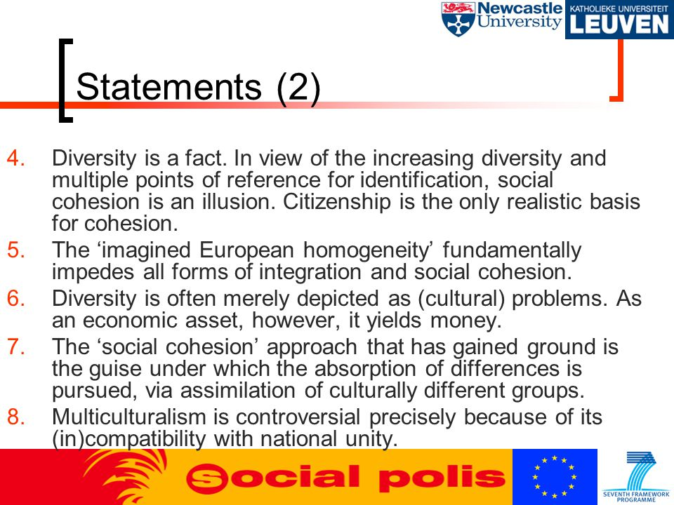 Statements (2) 4.Diversity is a fact.
