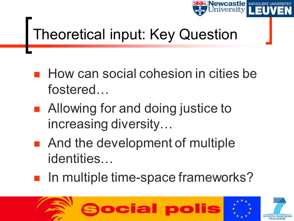 Theoretical input: Key Question How can social cohesion in cities be fostered… Allowing for and doing justice to increasing diversity… And the development of multiple identities… In multiple time-space frameworks