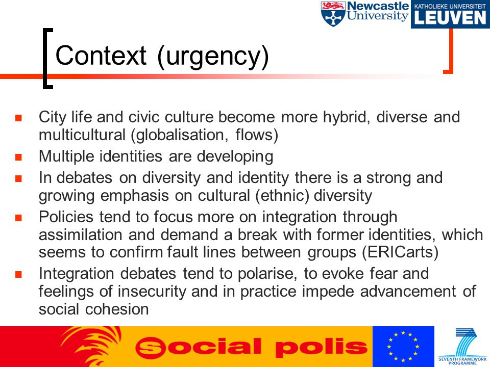 Context (urgency) City life and civic culture become more hybrid, diverse and multicultural (globalisation, flows) Multiple identities are developing
