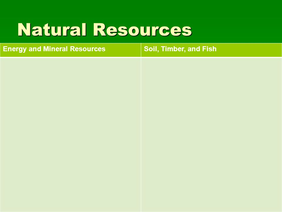 Natural Resources Energy and Mineral ResourcesSoil, Timber, and Fish