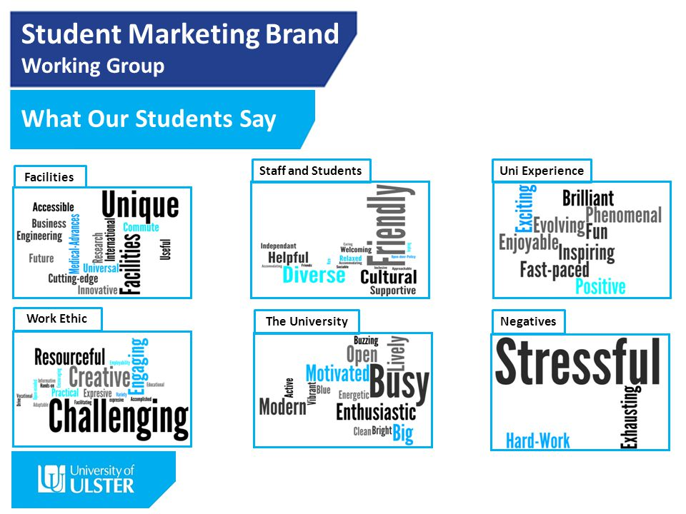 Student Marketing Brand Working Group What Our Students Say Facilities Staff and StudentsUni Experience Work Ethic NegativesThe University
