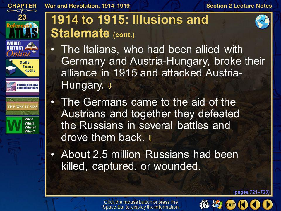 Section 2-11 Click the mouse button or press the Space Bar to display the information. 1914 to 1915: Illusions and Stalemate (cont.) On the Eastern Fr