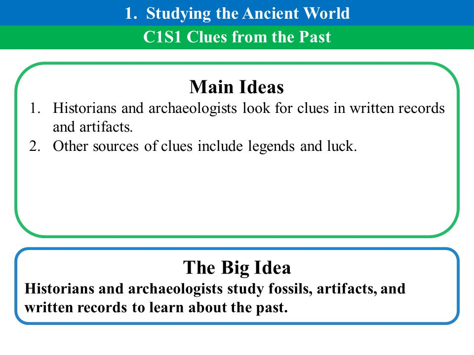 C1S1 Clues from the Past Main Ideas 1.Historians and archaeologists look for clues in written records and artifacts. 2.Other sources of clues include