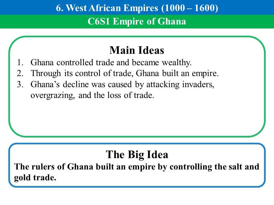 C6S1 Empire of Ghana Main Ideas 1.Ghana controlled trade and became wealthy. 2.Through its control of trade, Ghana built an empire. 3.Ghana's decline