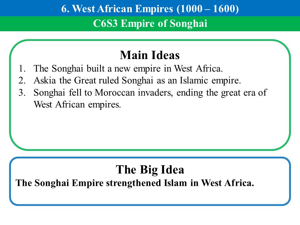 C6S3 Empire of Songhai Main Ideas 1.The Songhai built a new empire in West Africa. 2.Askia the Great ruled Songhai as an Islamic empire. 3.Songhai fel