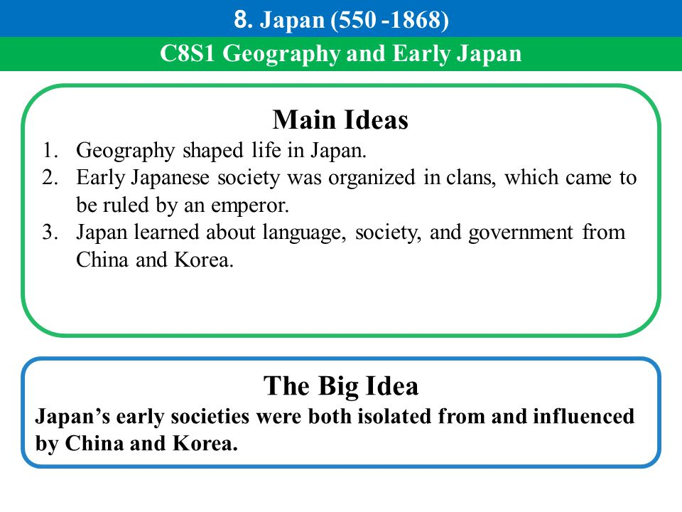 C8S1 Geography and Early Japan Main Ideas 1.Geography shaped life in Japan. 2.Early Japanese society was organized in clans, which came to be ruled by
