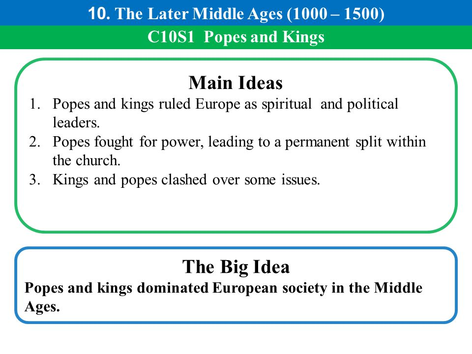 C10S1 Popes and Kings Main Ideas 1.Popes and kings ruled Europe as spiritual and political leaders. 2.Popes fought for power, leading to a permanent s