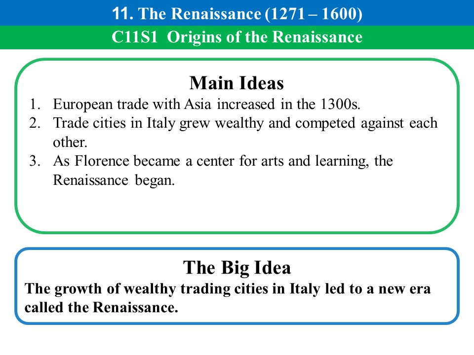 C11S1 Origins of the Renaissance Main Ideas 1.European trade with Asia increased in the 1300s. 2.Trade cities in Italy grew wealthy and competed again