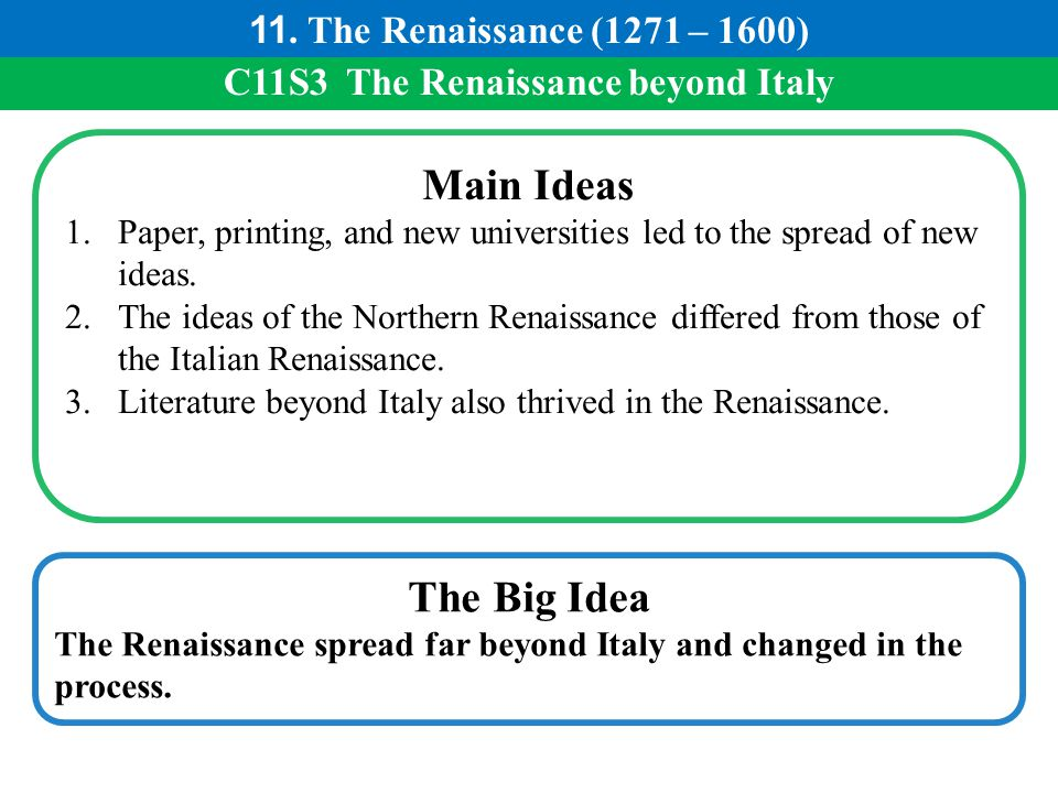 C11S3 The Renaissance beyond Italy Main Ideas 1.Paper, printing, and new universities led to the spread of new ideas. 2.The ideas of the Northern Rena