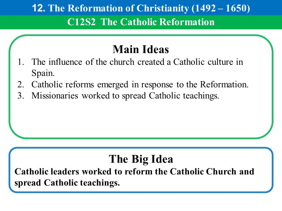 C12S2 The Catholic Reformation Main Ideas 1.The influence of the church created a Catholic culture in Spain. 2.Catholic reforms emerged in response to