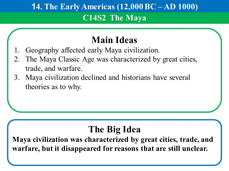 C14S2 The Maya Main Ideas 1.Geography affected early Maya civilization. 2.The Maya Classic Age was characterized by great cities, trade, and warfare.