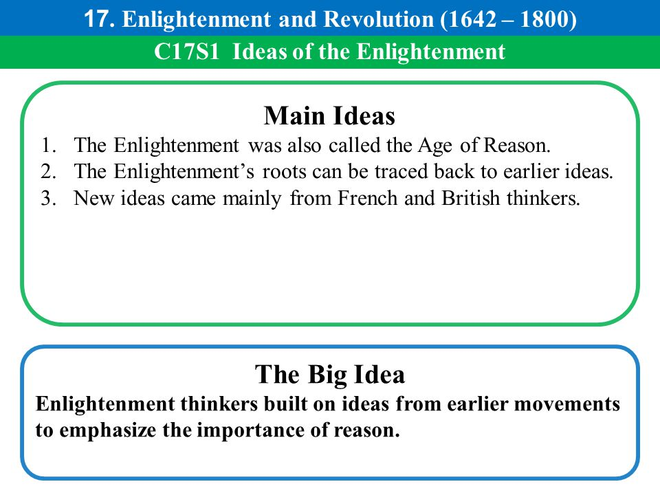 C17S1 Ideas of the Enlightenment Main Ideas 1.The Enlightenment was also called the Age of Reason. 2.The Enlightenment's roots can be traced back to e