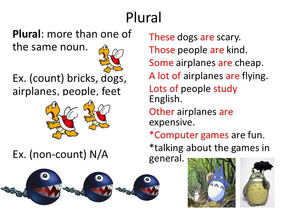 Plural These dogs are scary. Those people are kind. Some airplanes are cheap. A lot of airplanes are flying. Lots of people study English. Other airpl