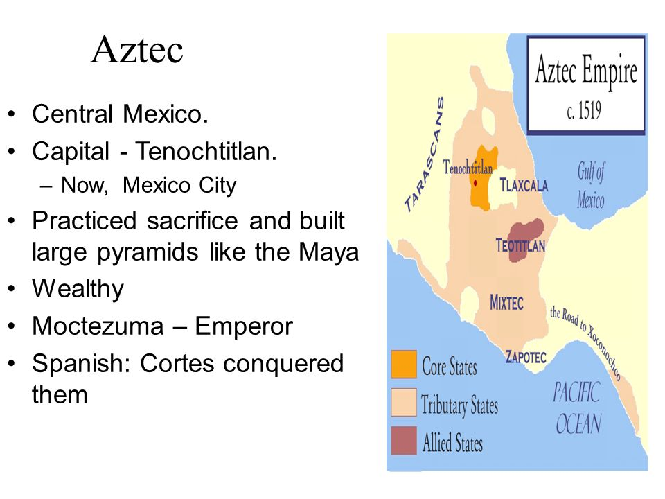Aztec Central Mexico. Capital - Tenochtitlan.