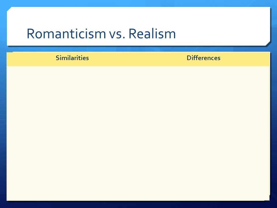 Romanticism vs. Realism SimilaritiesDifferences