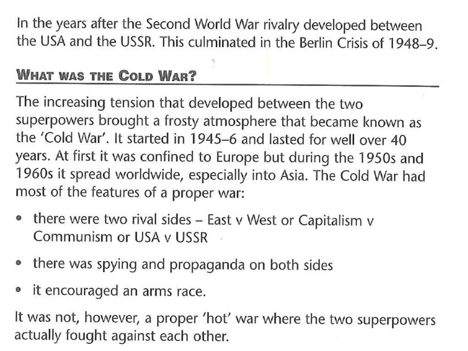 Why did a Cold War develop?