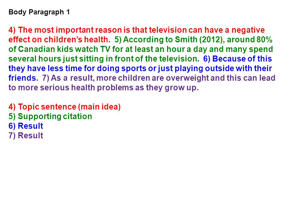 Body Paragraph 1 4) The most important reason is that television can have a negative effect on children's health. 5) According to Smith (2012), around