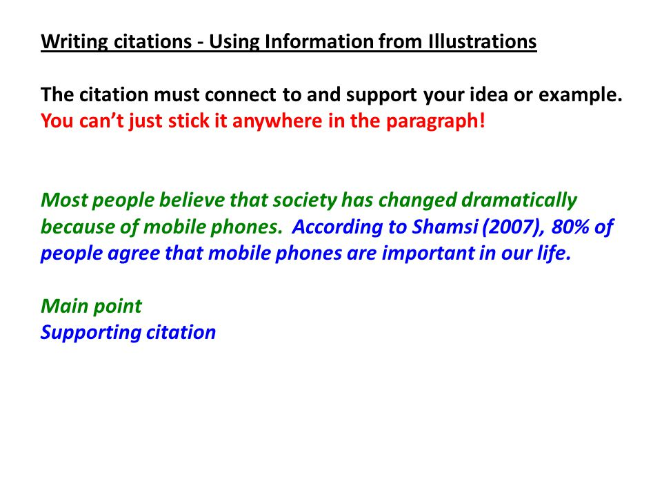 Writing citations - Using Information from Illustrations The citation must connect to and support your idea or example. You can't just stick it anywhe