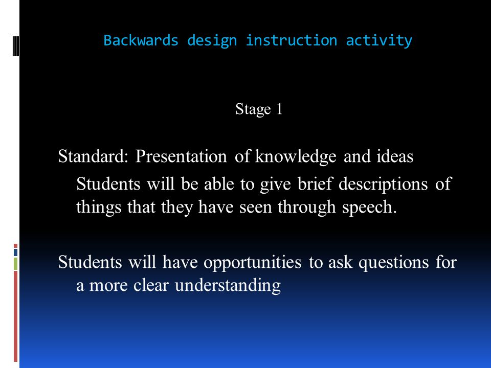Backwards design instruction activity Stage 1 Standard: Presentation of knowledge and ideas Students will be able to give brief descriptions of things