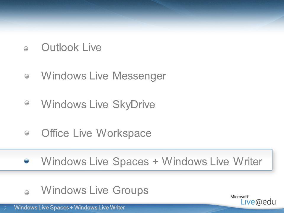 2 Windows Live Spaces + Windows Live Writer Outlook Live Windows Live Messenger Windows Live SkyDrive Office Live Workspace Windows Live Spaces + Windows Live Writer Windows Live Groups