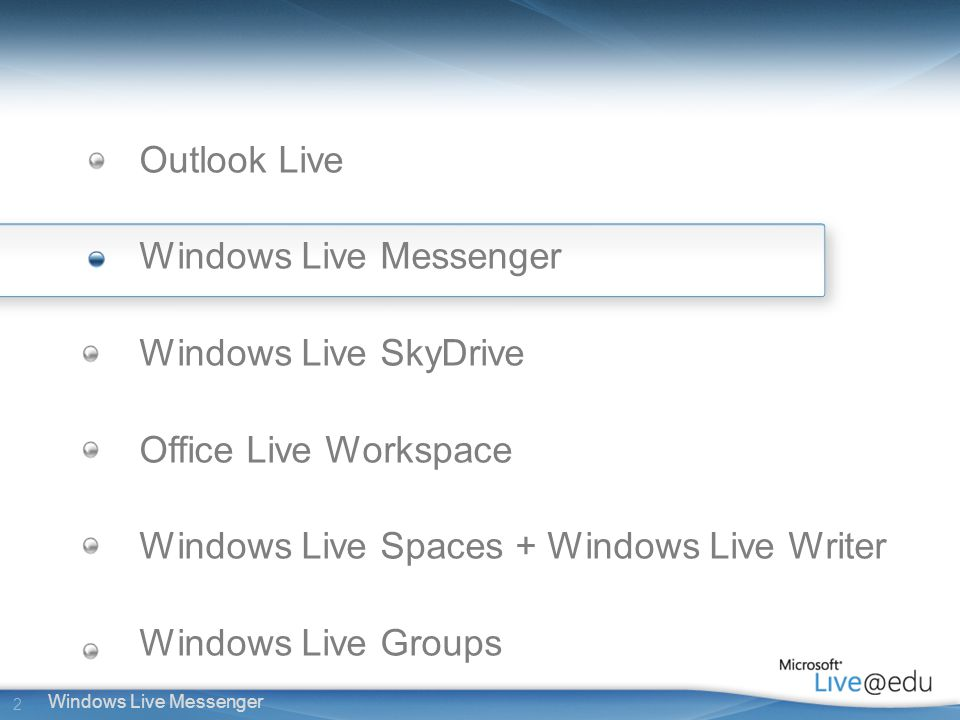 2 Windows Live Messenger Outlook Live Windows Live Messenger Windows Live SkyDrive Office Live Workspace Windows Live Spaces + Windows Live Writer Windows Live Groups