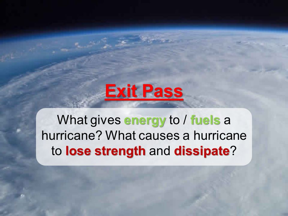 Exit Pass energyfuels lose strength dissipate What gives energy to / fuels a hurricane.