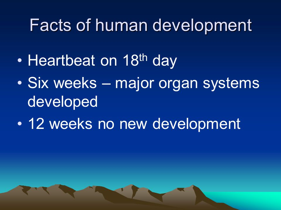 Facts of human development Heartbeat on 18 th day Six weeks – major organ systems developed 12 weeks no new development