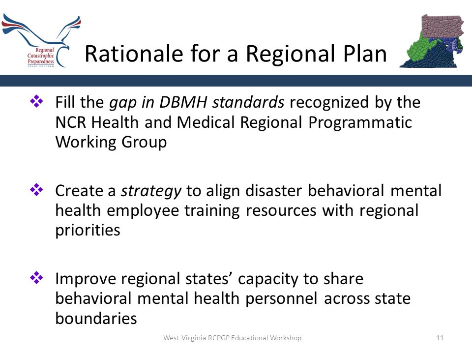 Rationale for a Regional Plan 11  Fill the gap in DBMH standards recognized by the NCR Health and Medical Regional Programmatic Working Group  Creat