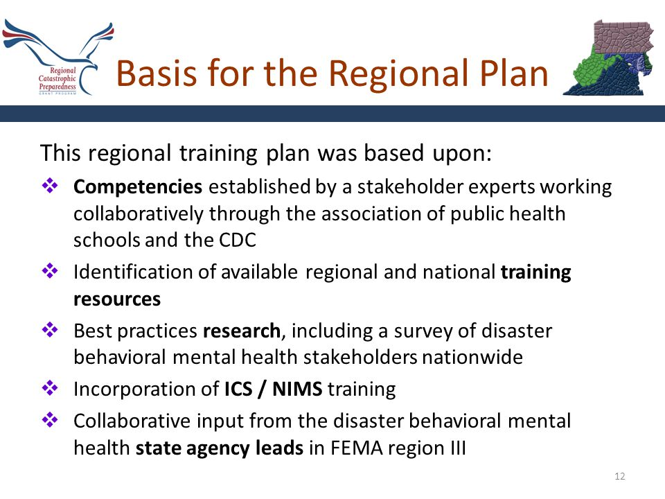 Basis for the Regional Plan 12 This regional training plan was based upon:  Competencies established by a stakeholder experts working collaboratively